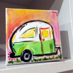 Other - Hand Painted RV Retro Camper Canvas shelf art